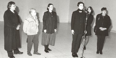 Opening of the exhibition of Jitka and Květa at the Trade Fair Palace in Prague. Marie Klimešová, the Ševčíkovys, Marie Bergmanová and others, 2000. Válová Sisters Archive