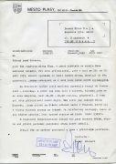 Letter from the mayor of Plasy — September 25, 1997 (1997). Photographer: Archive, Miloš Šejn