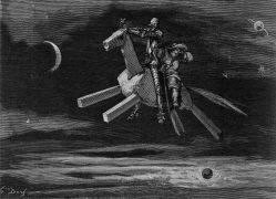 Gustave Doré: Clavileno Swift, the flying wooden horse, flying in the sky with Don Quixote and Sancho Panza, 1881-82 (1994). Photographer: archive