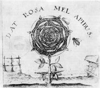 Johann Thedore deBry: DAT ROSA MEL APIBUS — Detail from the titlepage of Robert Fludd's Summum Bonum, Frankfurt 1629 (1995). Photographer: archiv