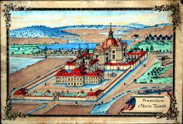 Mariánská Týnice. veduta Martina Prusíka, zachycující ideální stav, konec 18. století.