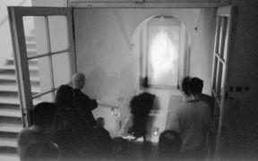 Medime Sovan Kumar: 1. I am Time, 2. Toilet Opera — installation (1999). Photographer: Daniel Šperl